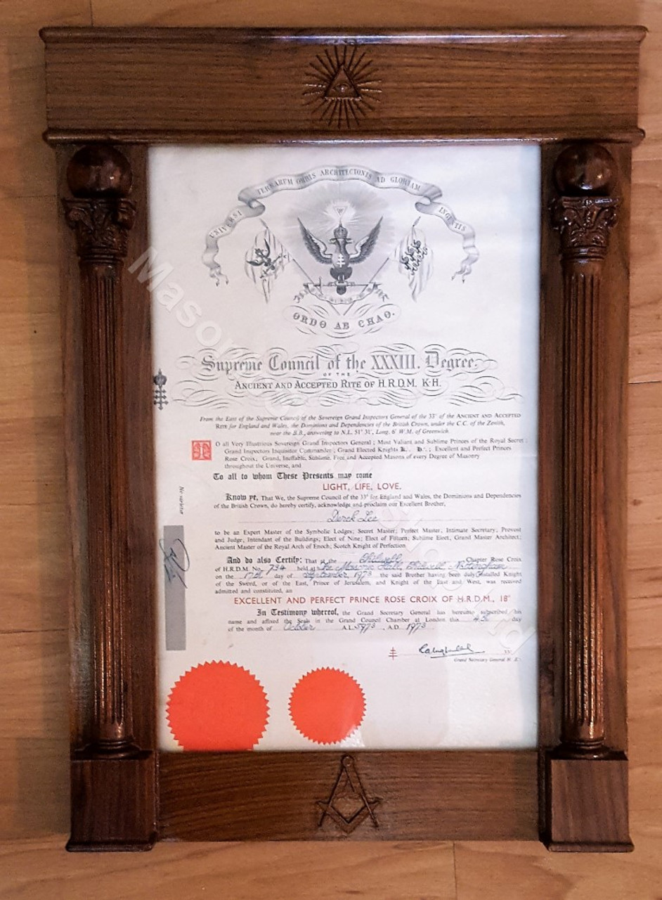 Masonic certificate frames masonic supply shop for Masonic certificate template