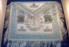 Silver PM Apron  with  Fringe & Lodge Badge