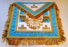 Gold  Officer Apron  with  Fringe , Wreathing & Lodge Badge