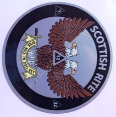 2.5  Dia Decal  3mm Laminated  Scottish Rite Double Headed Eagle