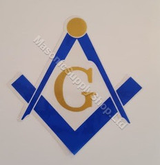 Square and Compass with G  Blue and Gold  Decal   2 per pack
