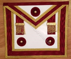 Master Masons Apron Burgundy Red with Gold Trim