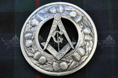 Masonic Plaid Brooch with Thistle Design