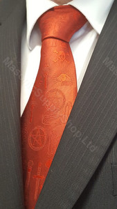 Masonic Symbol Tie Red