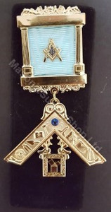 Past Master Breast  Pillar Jewel with  Blue Stone & Working Tools