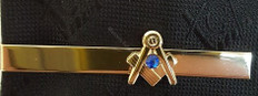 Square and Compass Tie Bar  with Blue Stone
