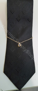 Tie Chain with Masonic Square & Compass with Blue Stone