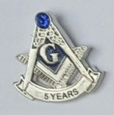 Masonic Anniversary  5 Year Lapel Pin           Silver