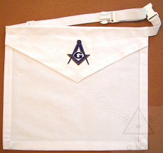 White Cotton Lodge  Apron  with Square & Compass         14 x 16