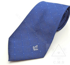 Masonic Tie  Royal Blue SQ & C design
