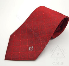 Masonic Tie Crimson Red with Sq & C design