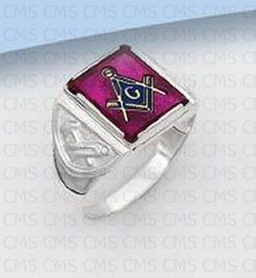 Silver Masonic Ring with Red Stone - 1