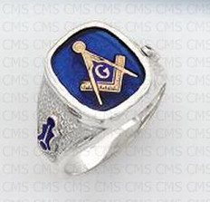 Siver Masonic Ring with Blue Stone- 3