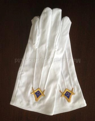 Masonic Dress Gloves with Gold  Square & Compass on Blue