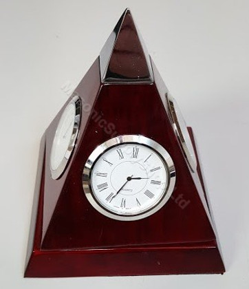 Cherry Wood Pyramid Clock