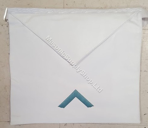 Masonic White Leather Apron with Emblem