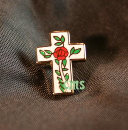 Lapel pin Rose on Cross