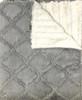Delore Baby Grey Embossed Lattice/ Cream Stripe Baby Blanket