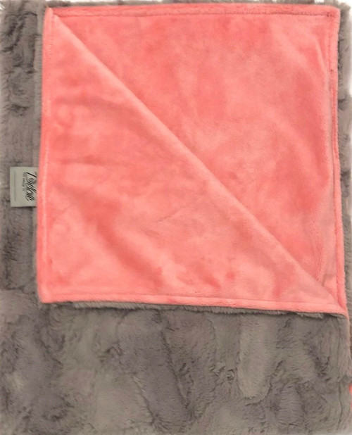 Delore Baby Grey Luxe / Coral Flat Minky Baby Blanket