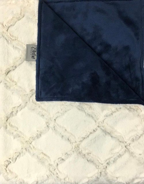 Delore Baby Cream Embossed Lattice/ Navy Flat Minky Baby Blanket