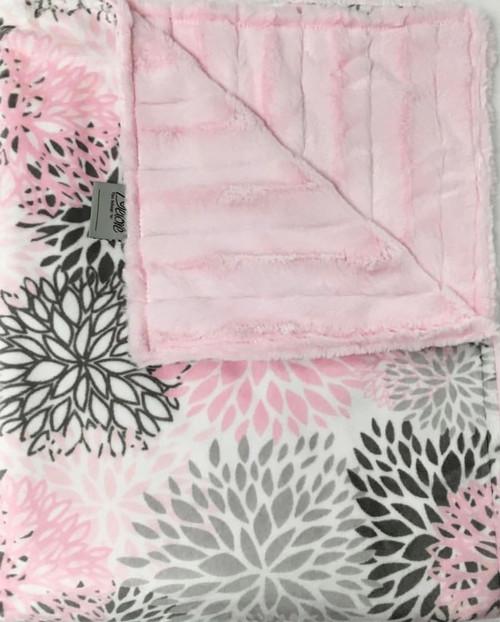 Delore Baby Pink Blooms/ Pink Stripe Baby Blanket