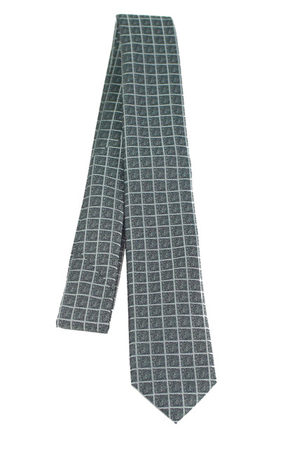 Boys Grey Square Lined Tie