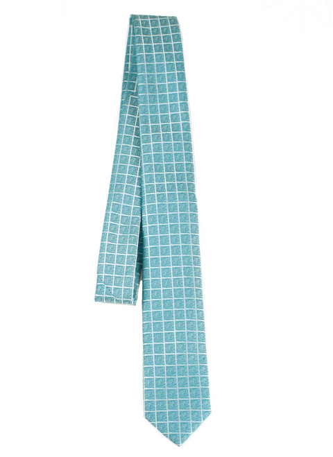 Boys Teal Square Lined Tie