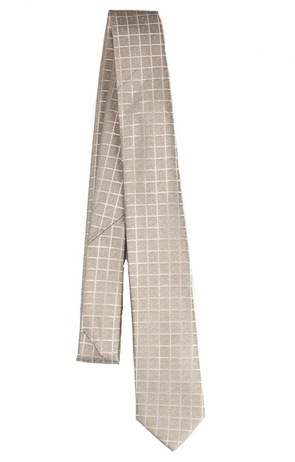 Boys Gold Square Lined Tie