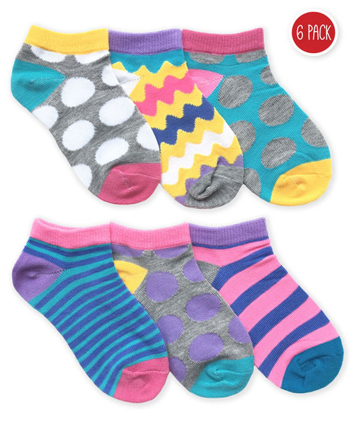 Jefferies Dots/Stripes Low Cut 6-Pack Socks