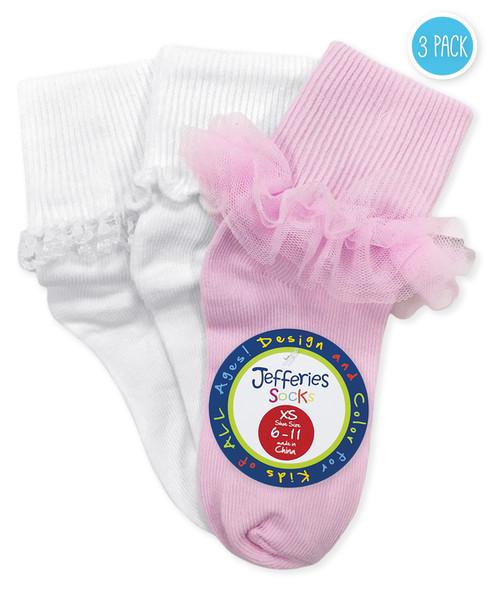 Jefferies Ruffle/ Ripple/ Lace 3 Pack Socks