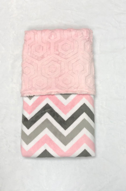 Babyboo Collection Baby Blanket Pink and Grey Chevron