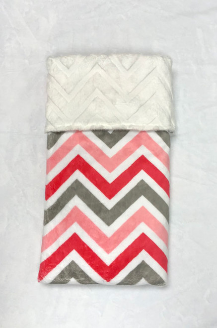 Babyboo Collection Baby Blanket Coral and Grey Chevron