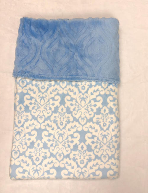 Babyboo Collection Baby Blanket Blue Damask