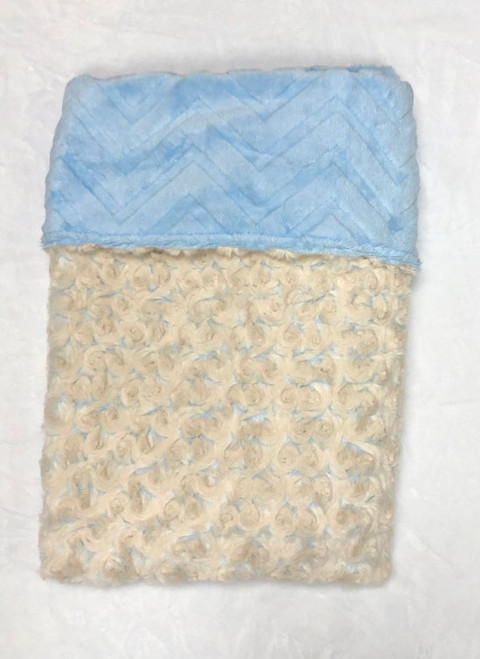 Babyboo Collection Baby Blanket Cream and Blue Rosebud