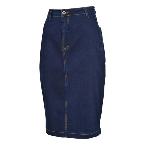 BGDK Ladies Denim Pencil Skirt With Back Pockets