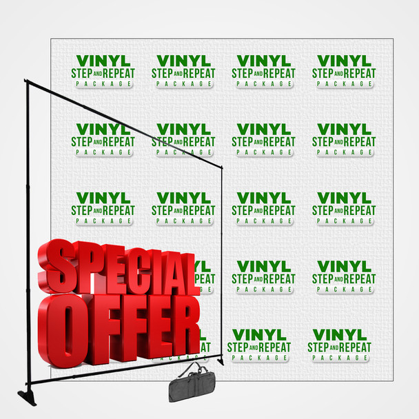 8FT x 8FT Vinyl Step and Repeat Package (13oz Scrim Banner + Stand)