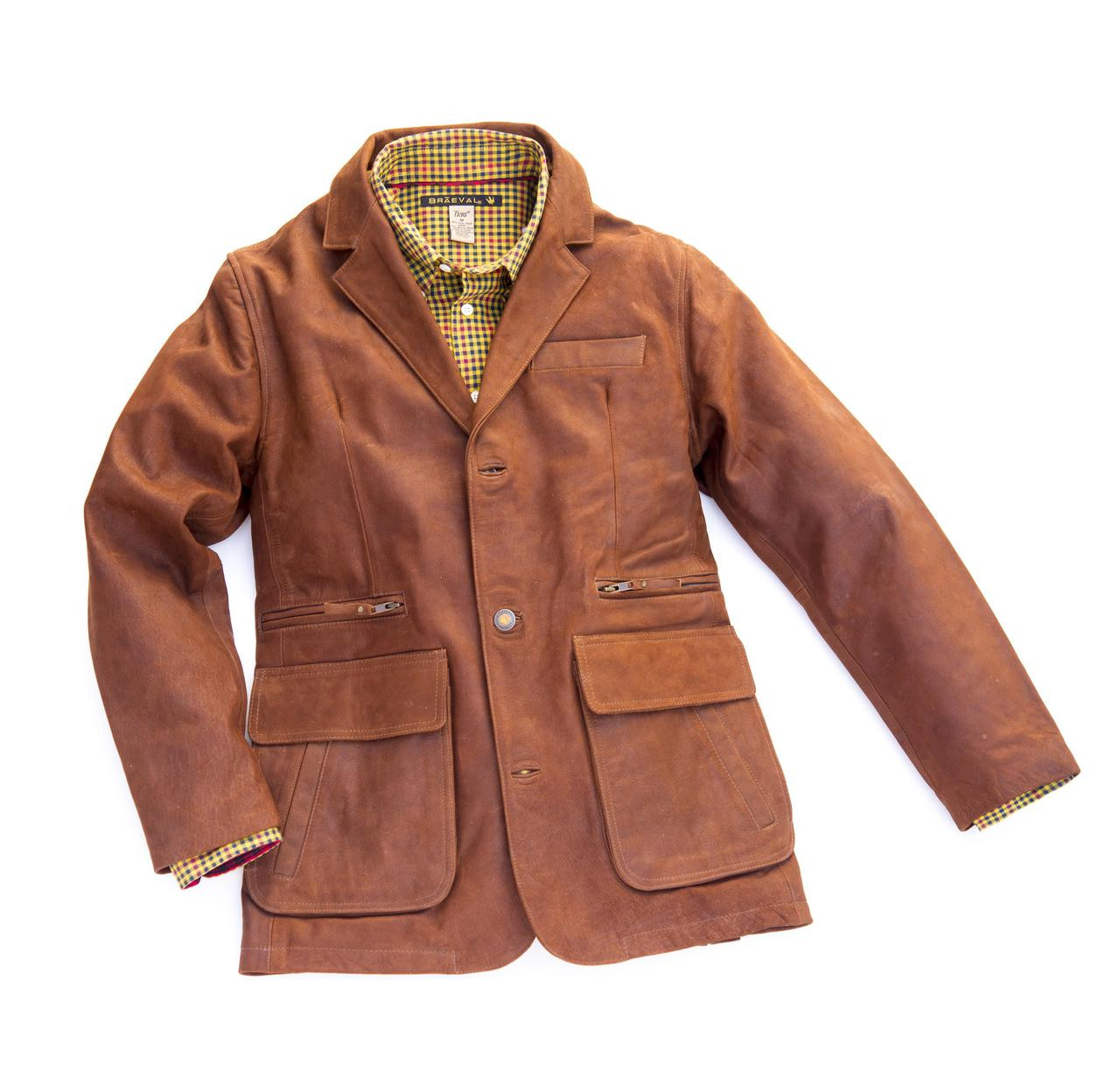 Exventurer Waxed Buffalo Sports Jacket - Chestnut Brown