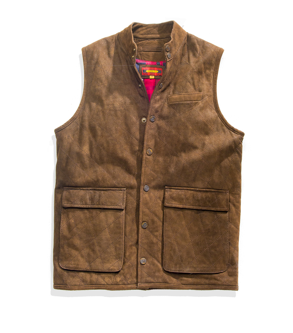 Exventurer Quilted Buffalo Nubuck Vest - Chocolate - 30% OFF