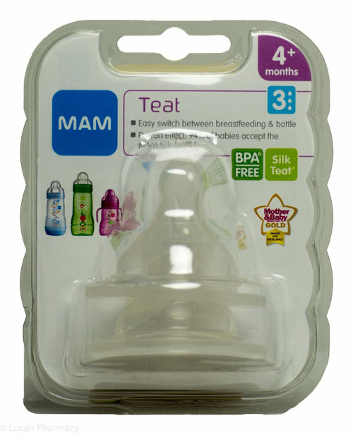 Lucan Pharmacy  MAM Teat 3 Fast Flow Silk Teat® 4+ Months - Pack of 2