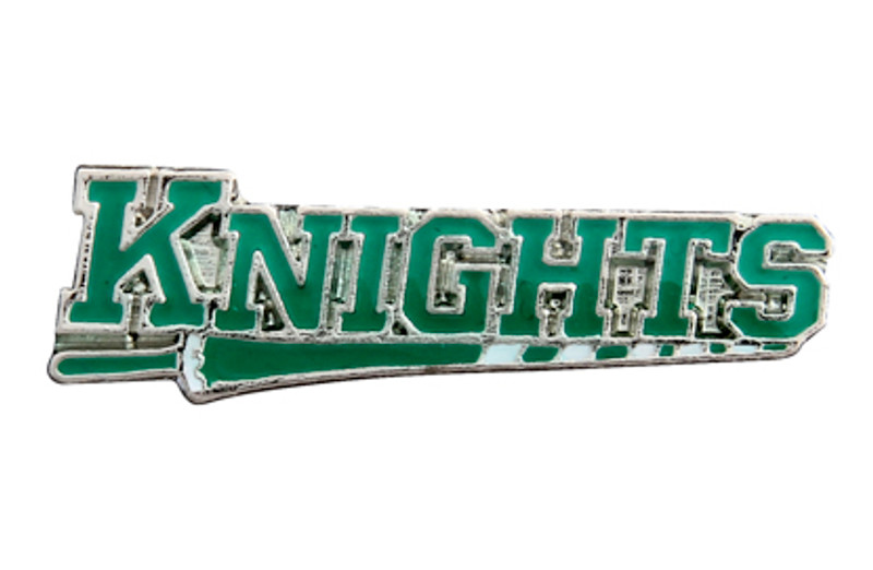 KNIGHTS on lance, green (nickel) Lapel Pin