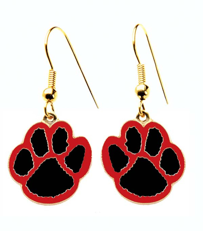Paw Earrings Black/Red