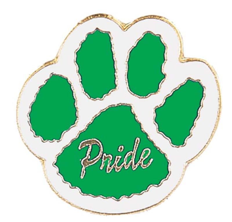 Paw Print - Pride (green/white) Lapel Pin