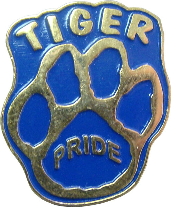 Paw Print with TIGER Pride (gold/blue) Lapel Pin