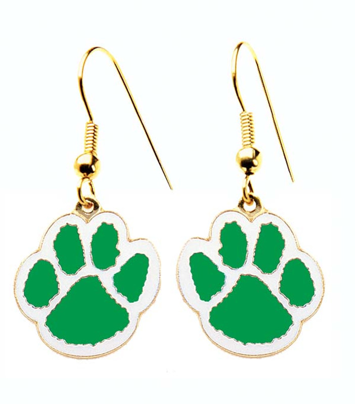 Paw Earrings Green/White