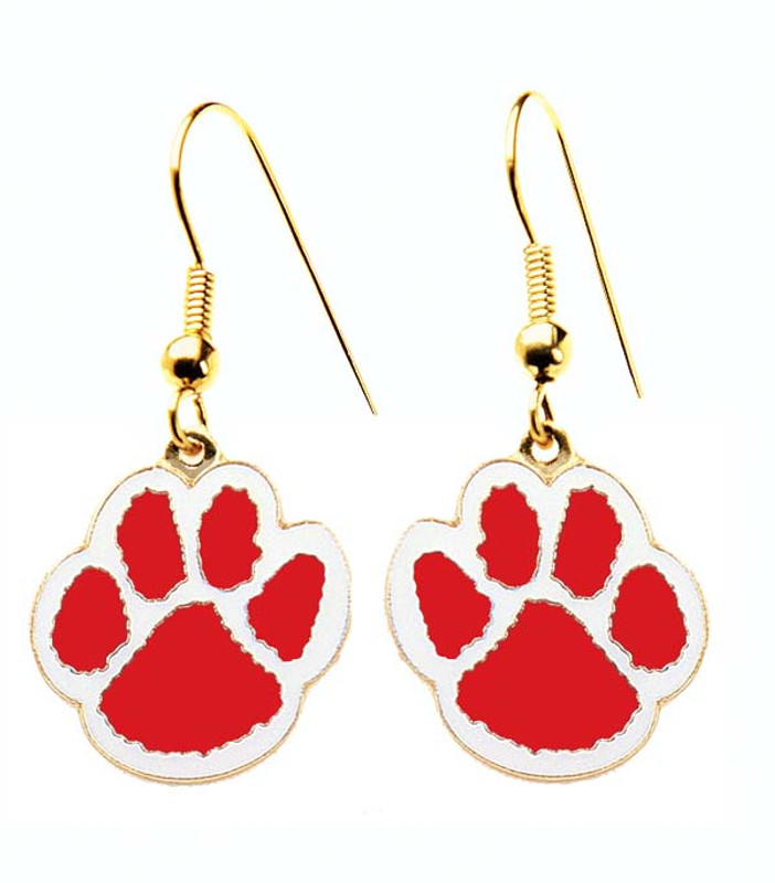 Paw Earrings Red/White