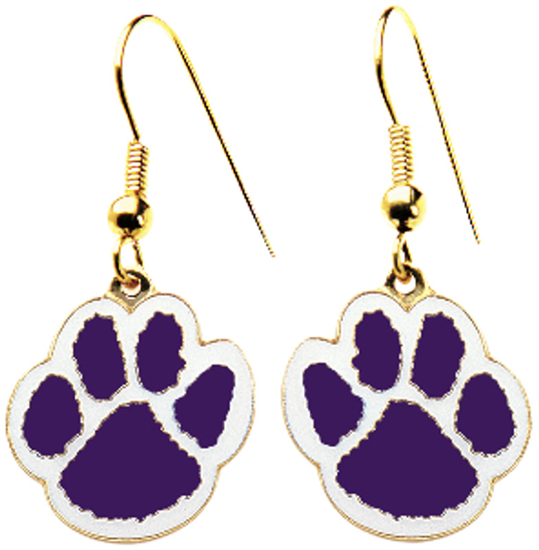 Paw Earrings Purple/White
