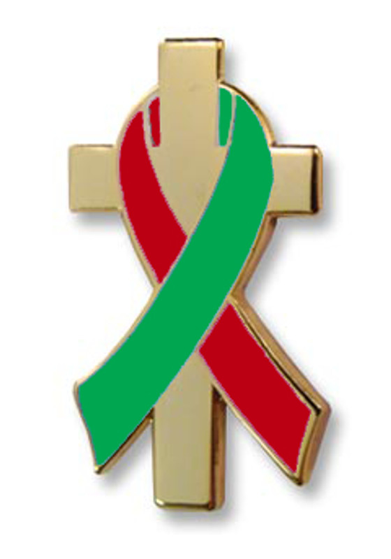 Red and Green Awareness Ribbon on Gold Plated Cross Lapel Pin