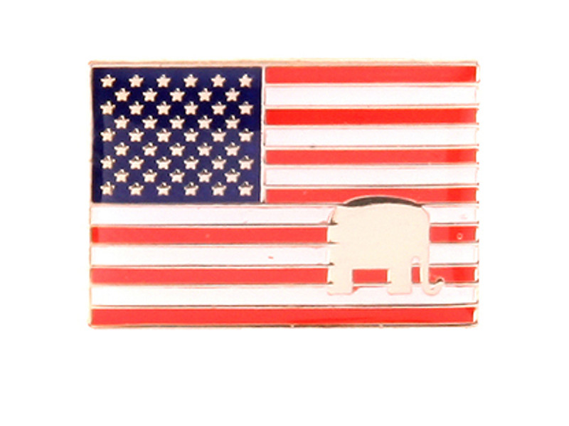 US Flag with Elephant Lapel Pin