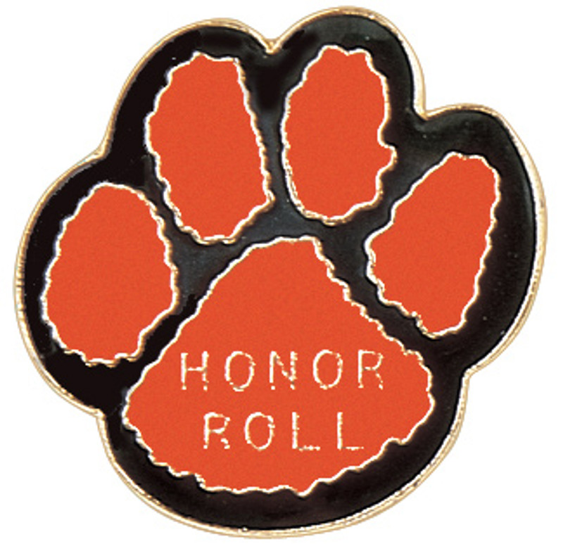 Paw Print - Honor Roll (orange/black) Lapel Pin