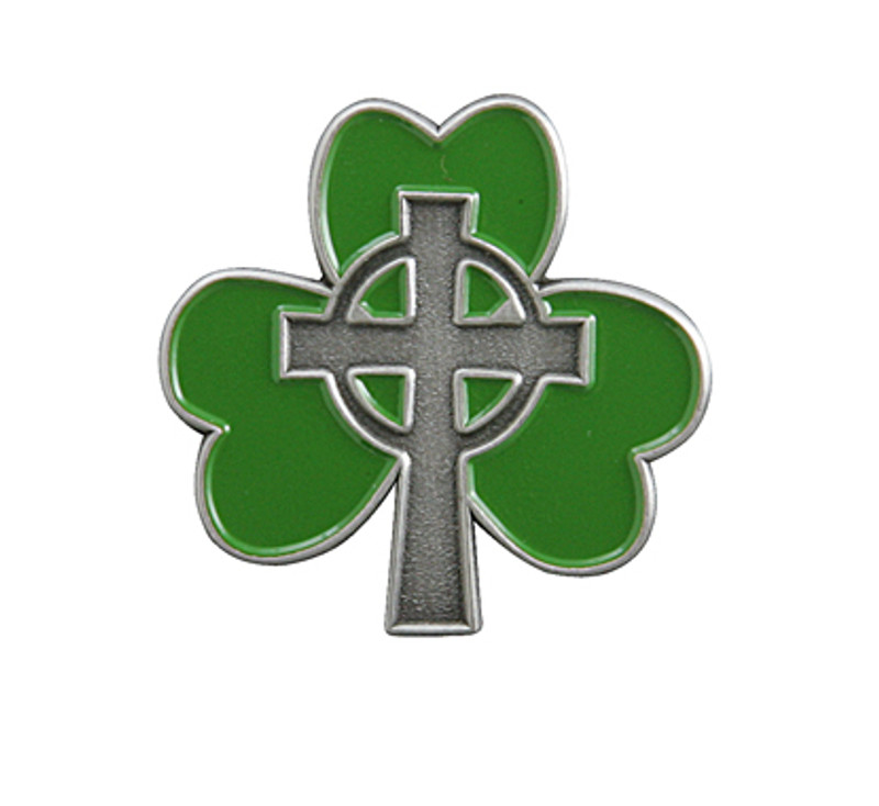 Shamrock with Cross Lapel Pin